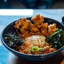 Maze Ramen | FOC special sauce, 63c sous vide egg, spicy minced chicken, sweet leaf, fried chicken, spring onion, seaweed