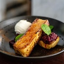 Berries Compote French Toast | housemade brioche bread pan-fried with egg, butter and cinnamon mix, minty berries compote, vanilla ice cream