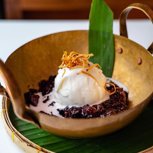 Black Sticky Rice Pudding with Coconut Ice Cream