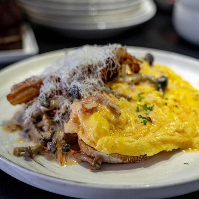 Creamy Mushroom on Toast with Scrambled Eggs