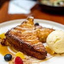 French Toast | pan-fried homemade brioche, pink guava compote, vanilla bean ice cream, cardamom
