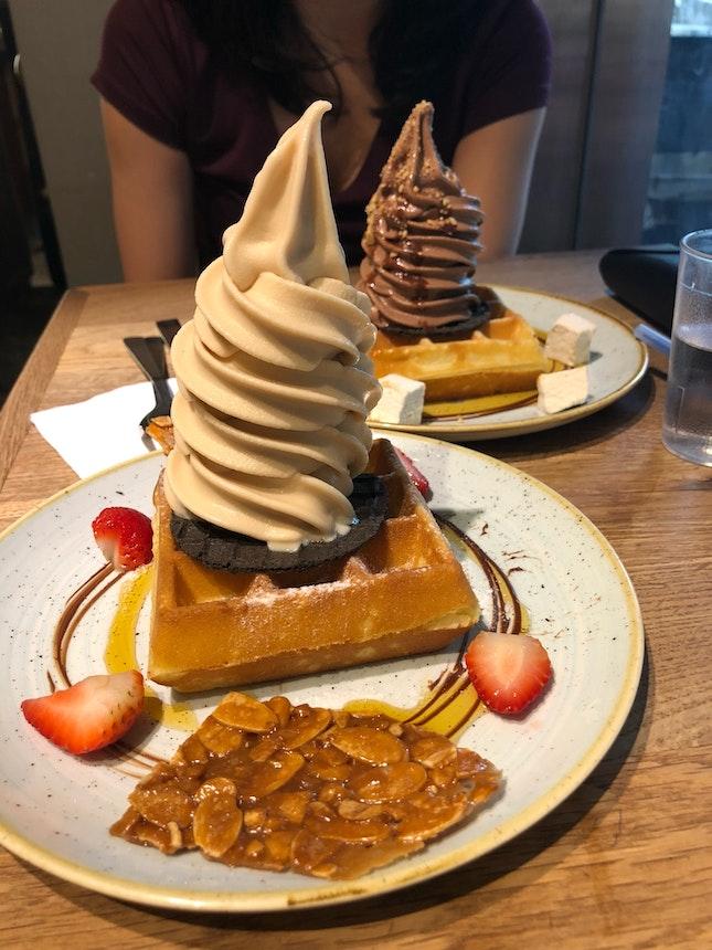 Earl grey ice cream & waffles