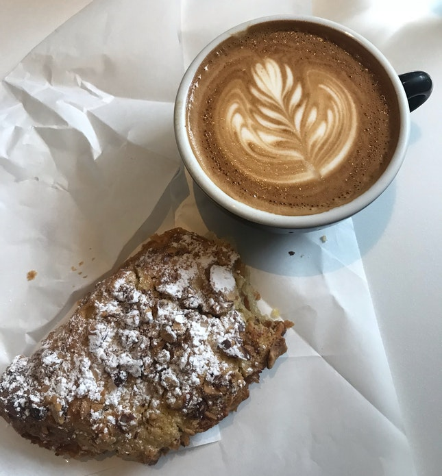 Flat White & Almond Croissant