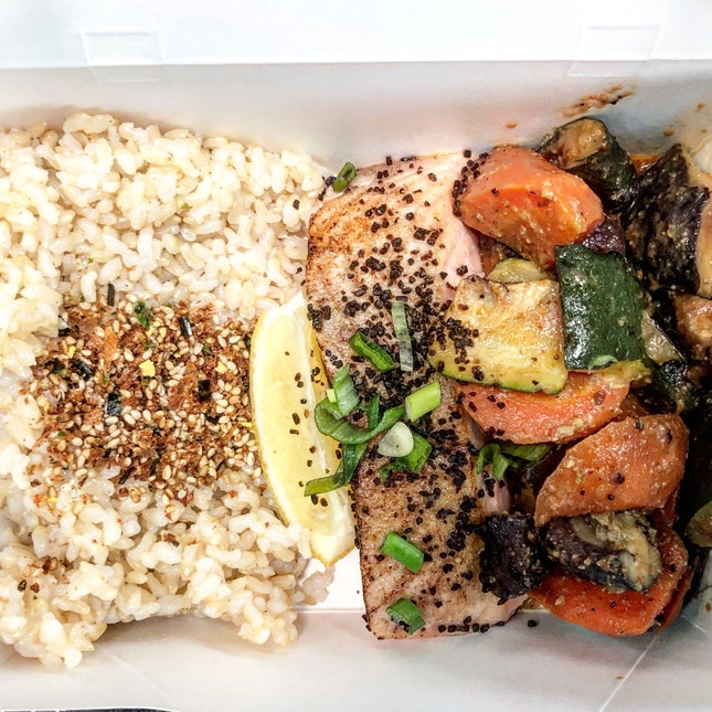 Salmon, Rice And Roasted Vegetables