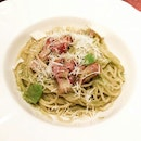 Spaghetti with Pancetta and Fava Beans