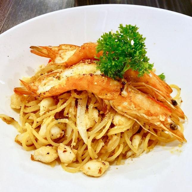 Tiger Prawns & Fresh Crab Meat Pasta