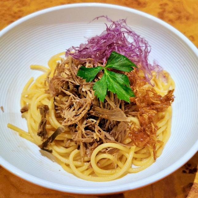 Scallion Spaghetti with Shredded Duck