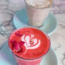 Chai latte ($5.50) Rose latte ($5.50)