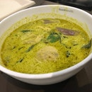 Life is good with a rich creamy bowl of affordable green curry with loads of seasonal vegetables.