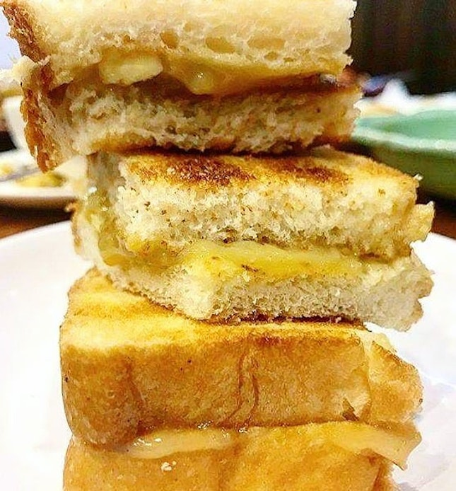 That kaya and butter on crispy toast on a morning