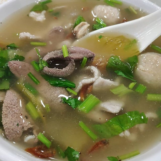 Pig's organ soup: Something I love so much, but can't cook at home because my family members don't eat salted vegetables and innards.