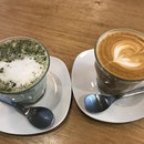 Enjoyed a lovely afternoon @somacoffeesingapore with our cup of flat white and green tea latte.