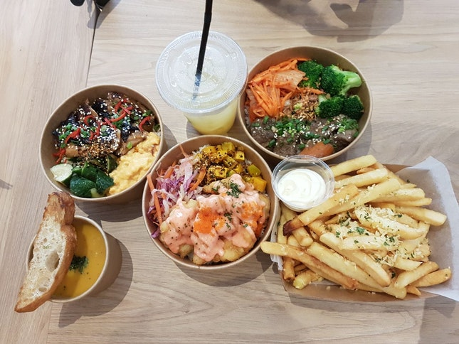Mentaiko Battered Fish ($12) + Drink, Soup, Cake Set (+$7) + Truffle Fries ($10)