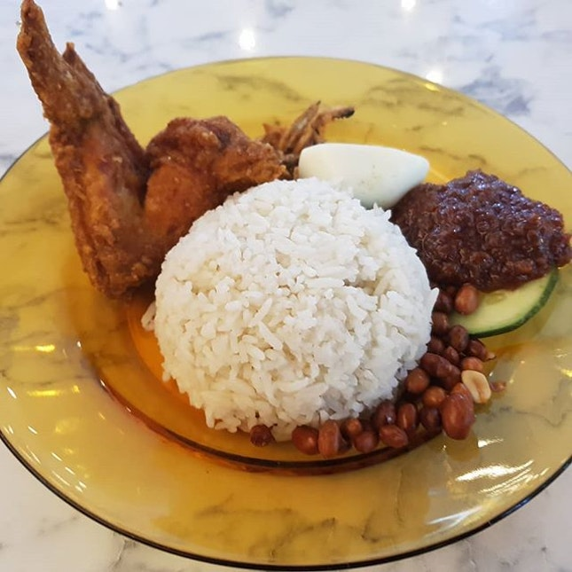 Malaysia food court Kuantan Nasi lemak  One if the best fried chicken in town.