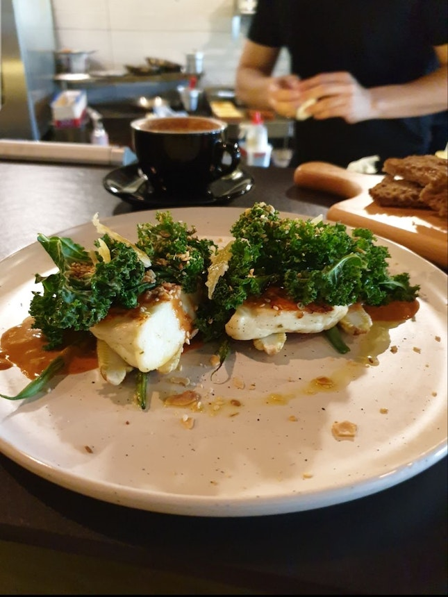 Try the Grilled Halloumi!