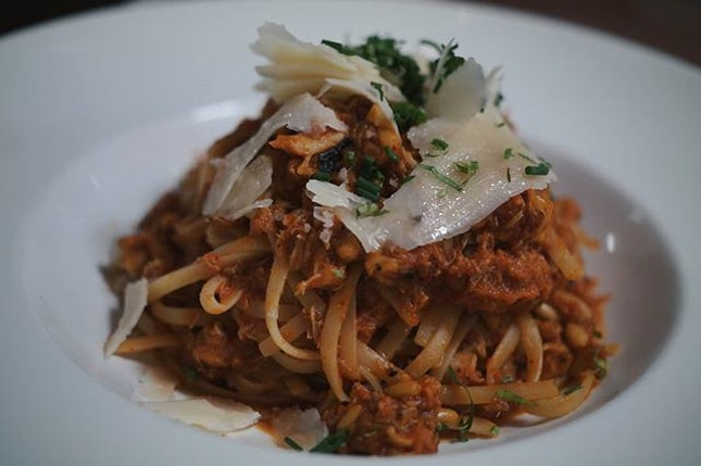 You can never EVER go wrong when you order the spicy crabmeat pasta at The Marmalade Pantry.