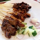 Beef, chicken and mutton satay (from lower left to upper right) from Satay by the Bay!