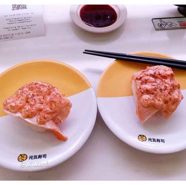 Seared Salmon with Pollock Roe sushi from Genki Sushi!
