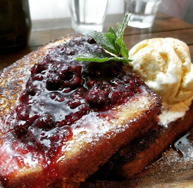 #cxyi brioche french toast with raspberry jam and vanilla ice cream.