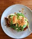 Pulled Pork & Avocado Eggs Benedict ($15) 🥓🥑