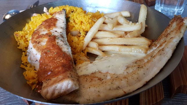 White Fish with Lemon Butter And Premium Side Combo