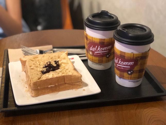 Injeolmi Red Bean Toast with Mocha and Sweet Potato Latte
