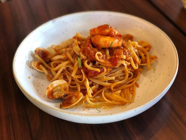 Tom Yum Seafood Pasta