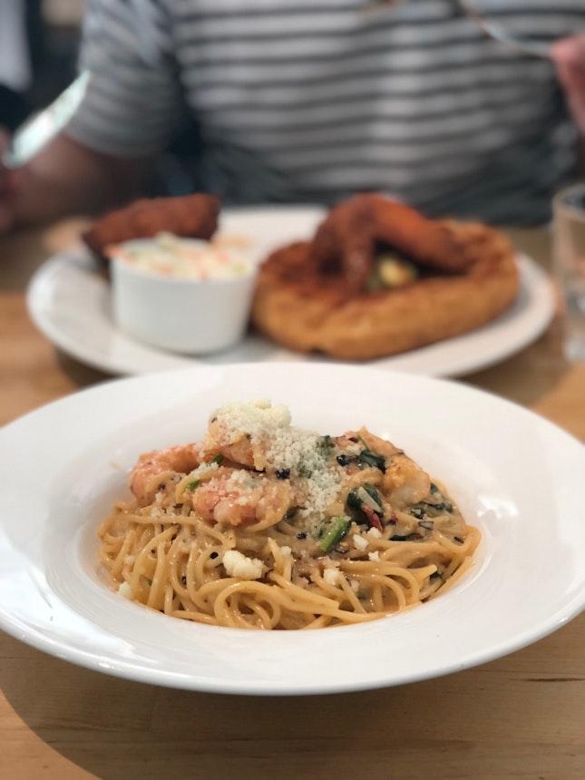 Ju's Prawn Pasta & Fried Chicken Waffles