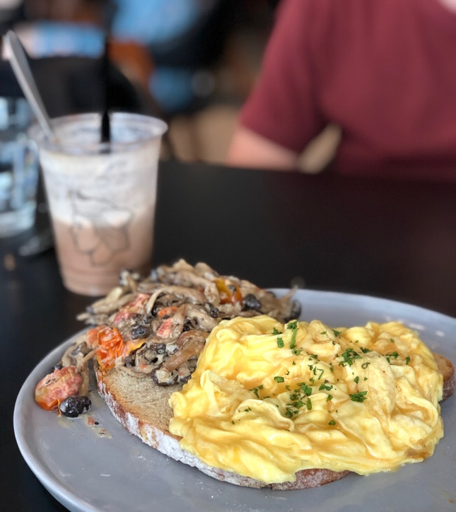 Creamy Mushroom On Toasted Sourdough With Scrambled Eggs & Smoked Salmon Benny