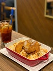 Cheese Baked Rice With Pork Chop & Tomato Gravy