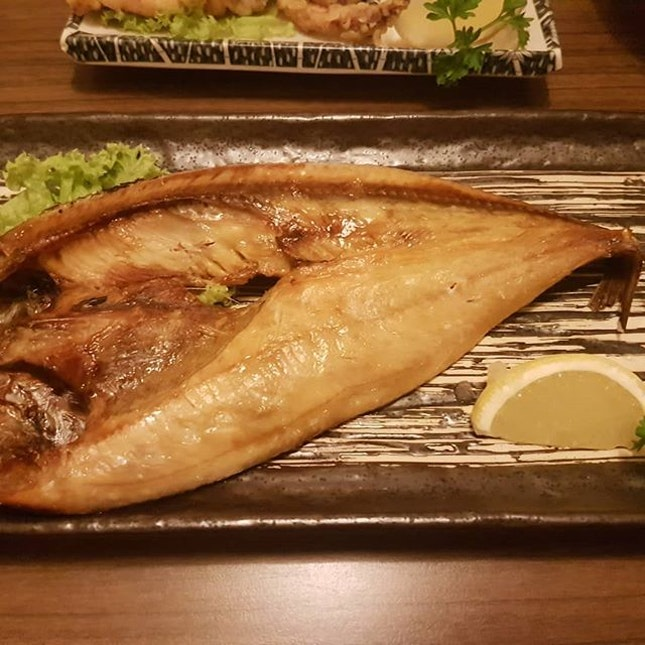 Grilled #hokke fish which goes well with drinks in the same way that nuts and crackers, duck wings n neck and other bar bites do.