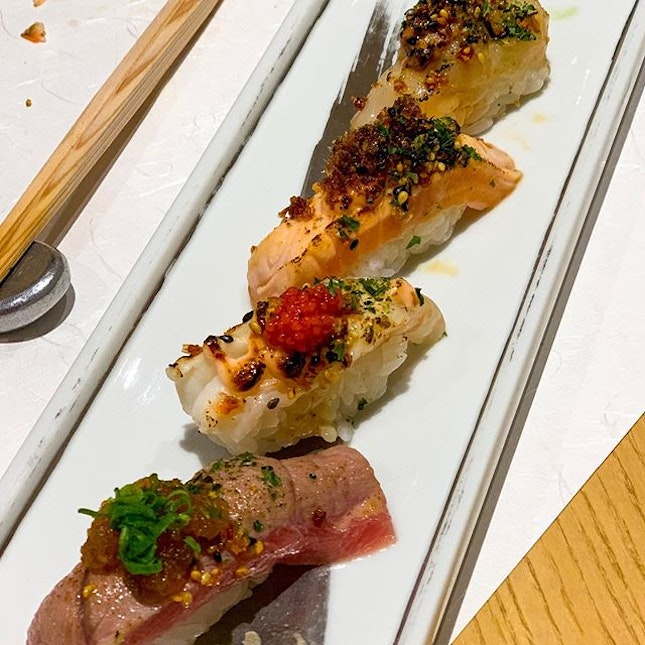 Fancy (Aburi) Sushi - Chef's special at $60++ for 4