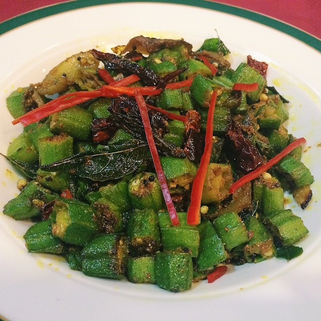 Fretu Bendi from Quentin's – fried okra with mustard seed, curry leaves, fried chillies and turmeric.