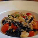 Squid Ink Pasta With Crab Meat In White Wine Sauce