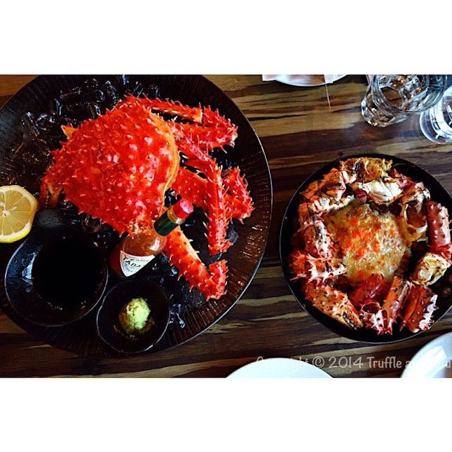 Sinful lunch 😍 Alaskan King Crab, half served cold and another half served with baked rice..
