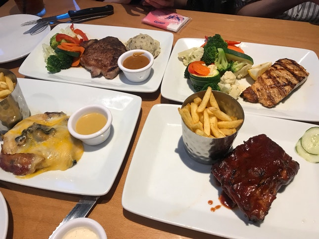 Steak, Salmon, Ribs And Chicken