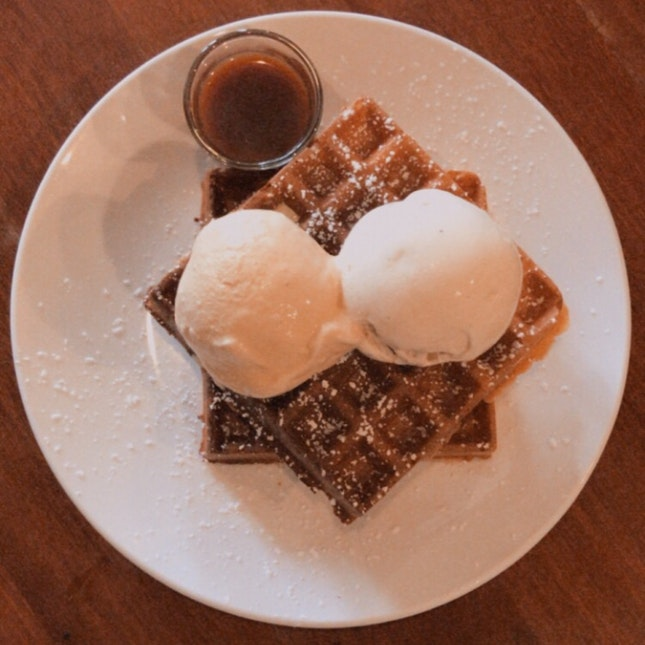 Double Scoops With Waffles
