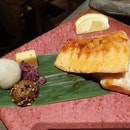 Charcoal Grilled Salmon Belly Set, $16.90