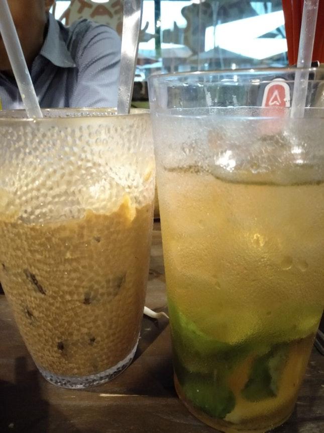 Iced Viet Coffee & Iced Minty Cool Lime Tea