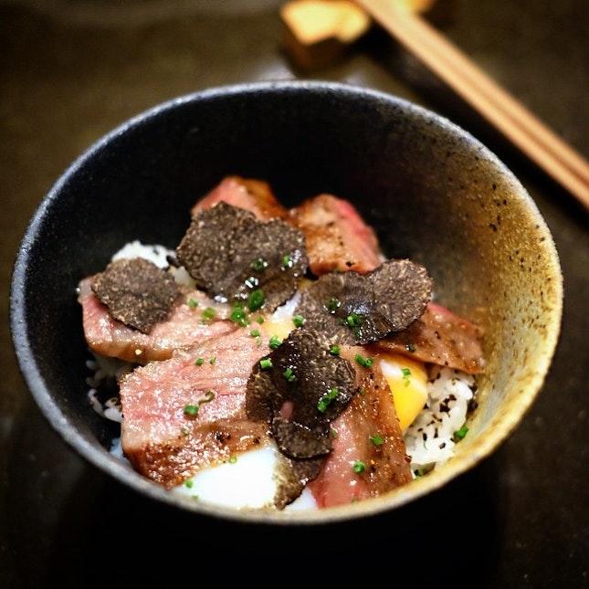 Die die must have at Tamashii Robataya - Saga beef rice bowl with onsen egg and black truffle.
