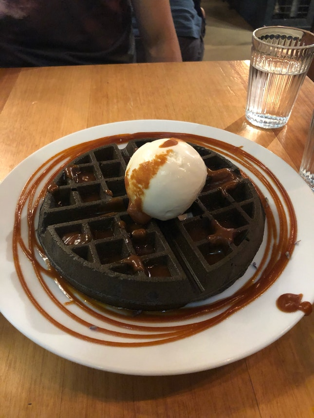 Delicious Waffle and Ice Cream