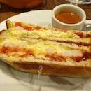 Shrimp, Avocado & Egg Toast ($9.80)