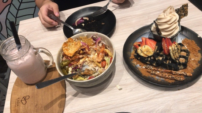 Smoothie, Grain Bowl And Mocha Waffles