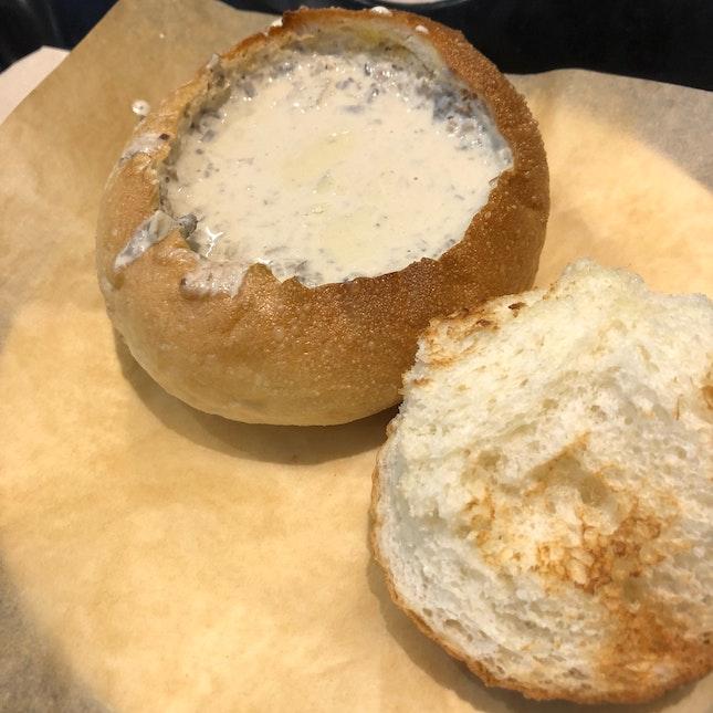 Mushroom Soup In Bread Bowl ($6.30)