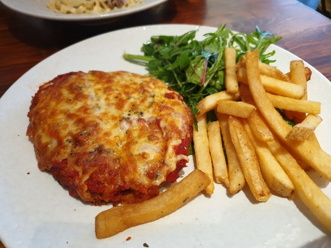 Chicken Parmigiana With Fries And Salad