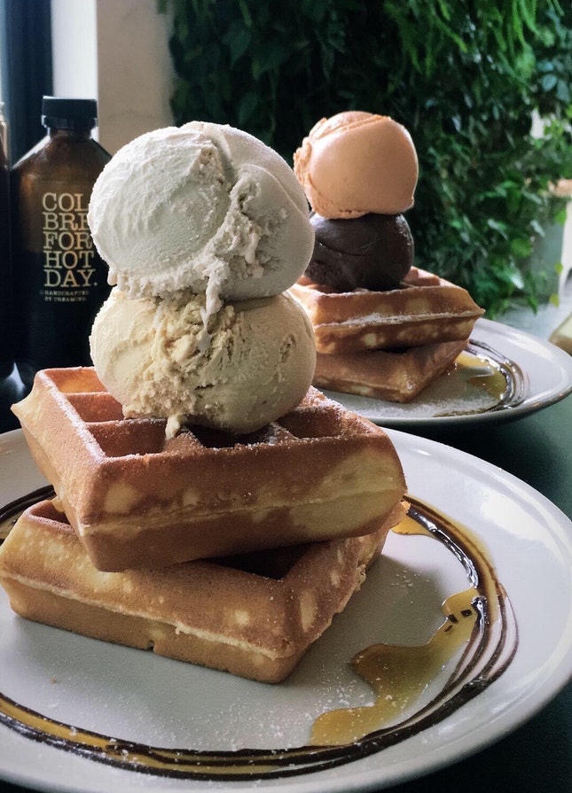 Waffles with Double Scoop ($12.30)
