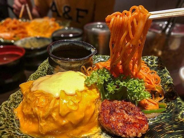 Omurice Combo + Special Cheese Sauce & Teriyaki Chicken Hamburg [$17.90]