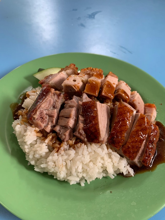 Roasted Duck And Crispy Pork Rice