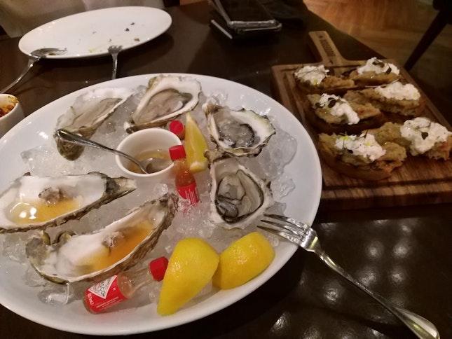 Fresh Oysters (Half Dozen) And Bruschetta