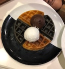 Yuan Yang Waffles + Coconut Ice Cream + Dark Chocolate Ice Cream